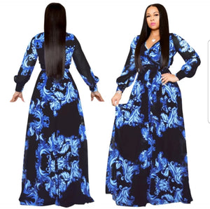 Fashion Long Sleeve Blue Maxi Dress