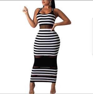 Fashion Stripped Peak A Boo Maxi Dress
