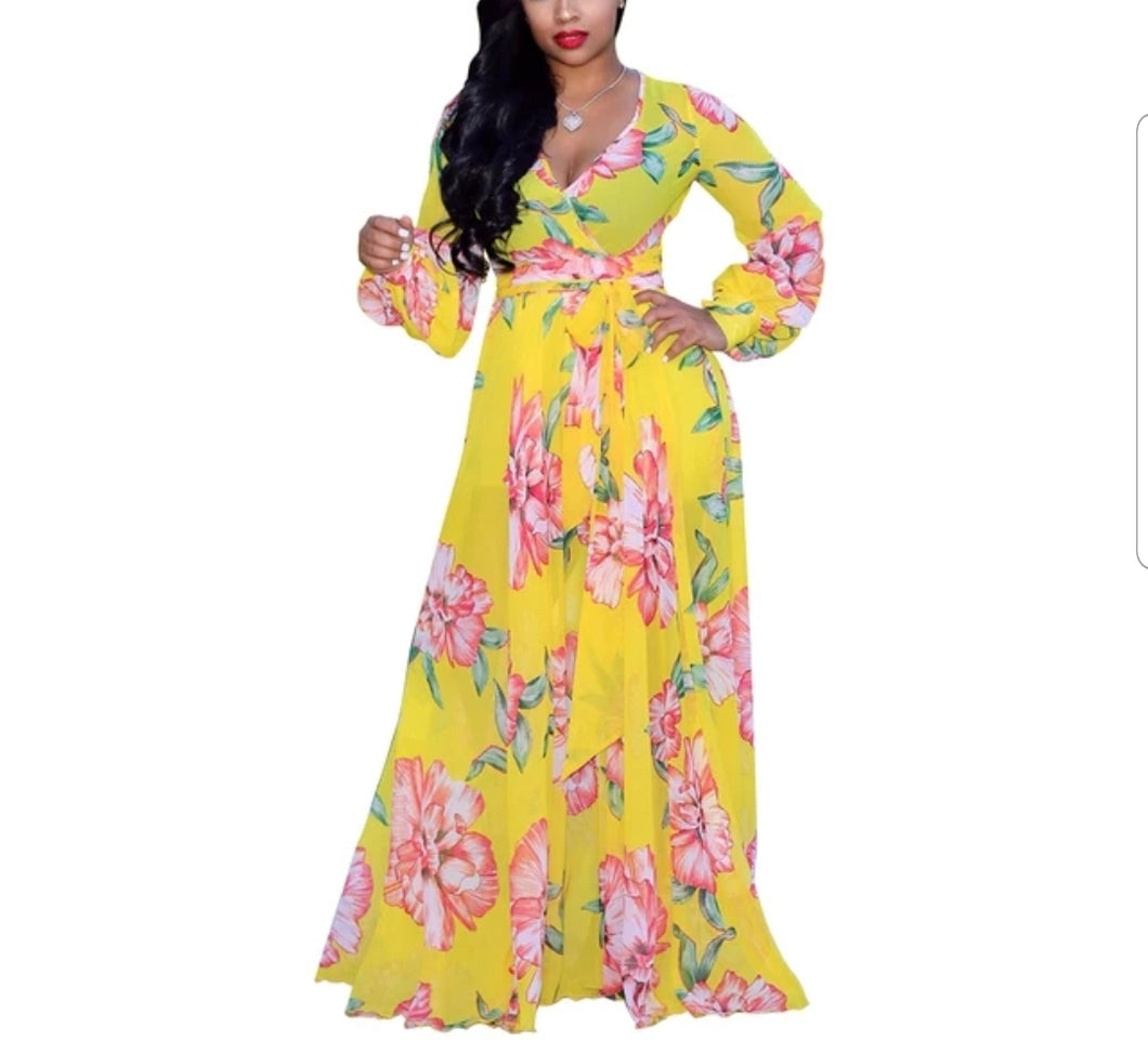 Fashion Long Sleeve Yellow Printed Flowing Maxi Dress
