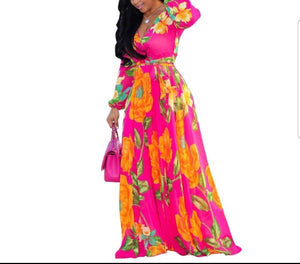Fashion Long Sleeve Pink Printed Flowing Maxi Dress