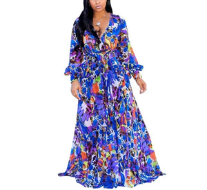 Fashion Long Sleeve Blue Printed Flowing Maxi Dress