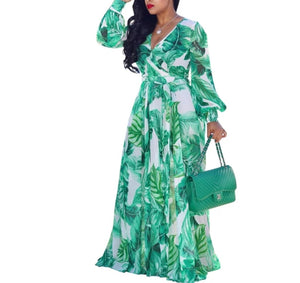 Fashion Long Sleeve Green Printed Flowing Maxi Dress