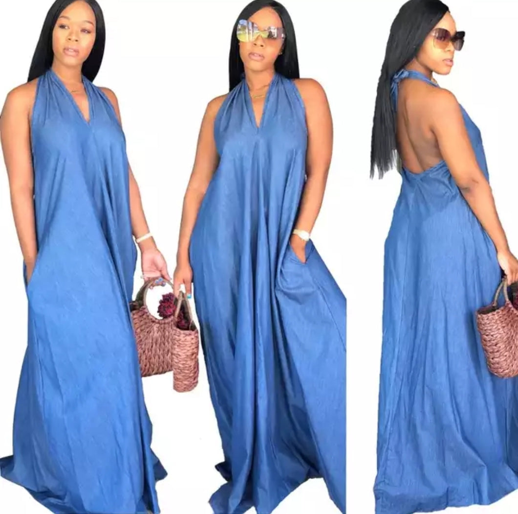 Fashion Denim Sexy Halter Maxi