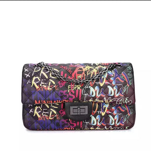Fashion Graffiti Black Cross Body Handbag