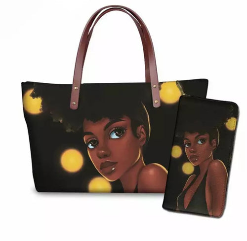 Fashion Culture Printed Yellow 2pc Tote and Wallet Set