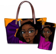 Load image into Gallery viewer, Fashion Culture Printed Orange 2pc Tote and Wallet Set