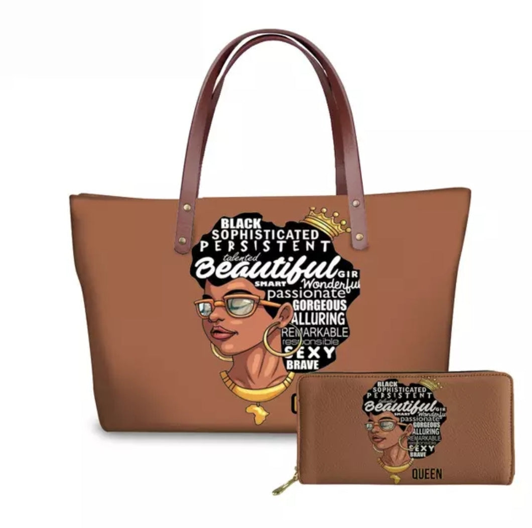 Fashion Culture Printed Tan 2pc Tote and Wallet Set