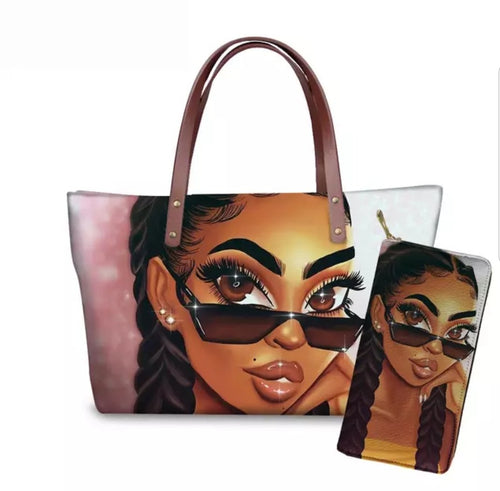 Fashion Culture Printed Beauty 2pc Tote and Wallet Set