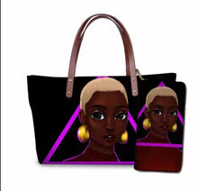 Load image into Gallery viewer, Fashion Culture Printed Black Beauty 2pc Tote and Wallet Set
