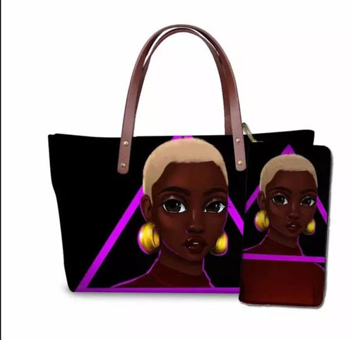 Fashion Culture Printed Black Beauty 2pc Tote and Wallet Set