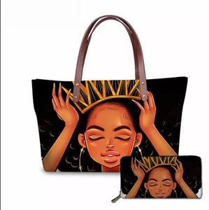 Fashion Culture Printed Readjusted Crown 2pc Tote and Wallet Set