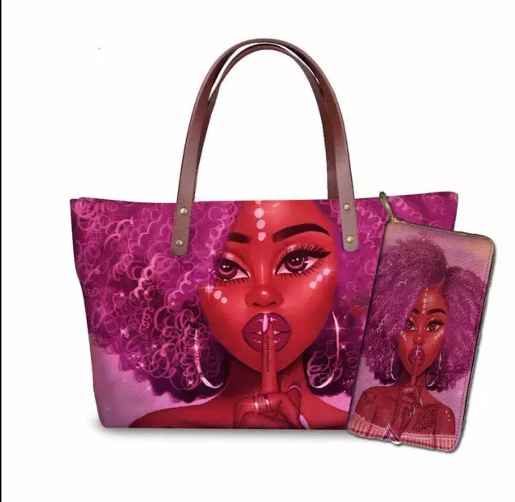 Fashion Culture Printed Pink 2pc Tote and Wallet Set