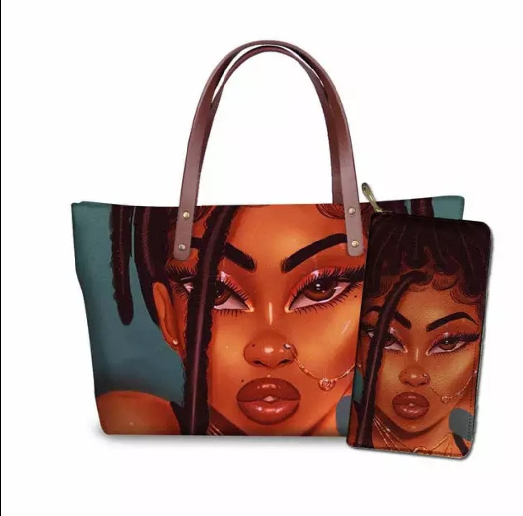 Fashion Culture Printed Deep 2pc Tote and Wallet Set