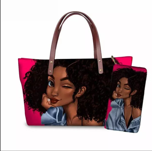 Fashion Culture Printed 2pc Tote and Wallet Set