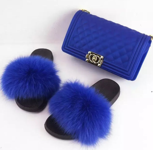 Fashion Royal Blue 2pc Fur Slides and Matching Handbag