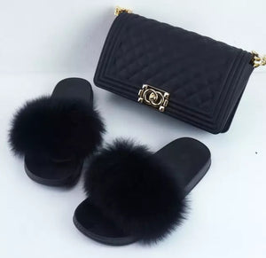 Fashion Black 2pc Fur Slides and Matching Handbag