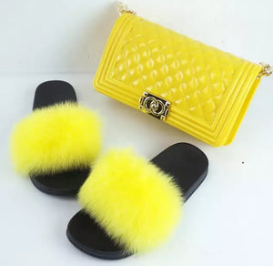 Fashion Yellow 2pc Fur Slides and Matching Handbag
