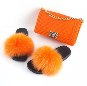 Fashion Orange 2pc Fur Slides and Matching Handbag