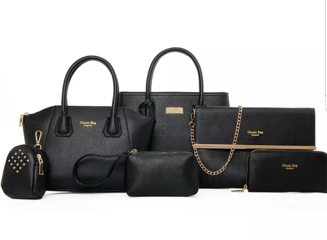 Fashion Black 6pc Travel Bag Set