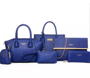 Fashion Royal Blue 6pc Travel Bag Set