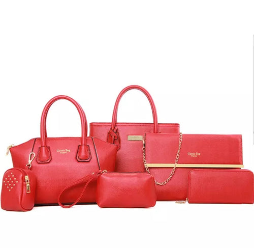 Fashion Red 6pc Travel Bag Set