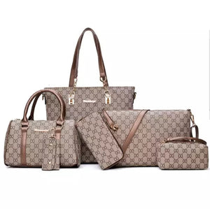 Fashion Tan 6pc Designer Printed Travel Set