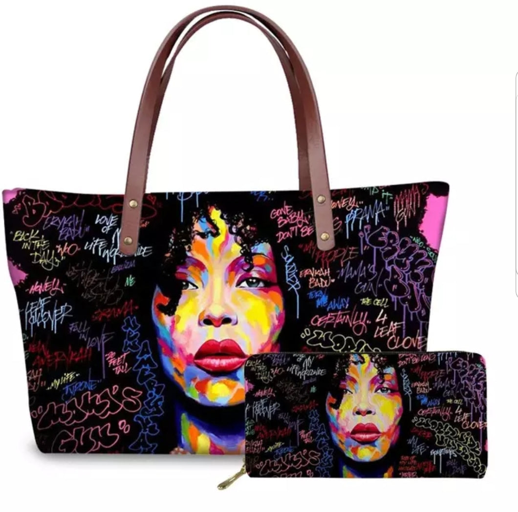 Fashion Culture Printed Black 2pc Tote and Wallet Set
