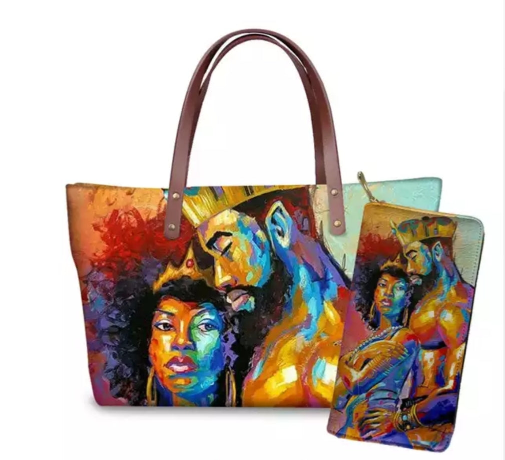 Fashion Culture Printed Royalty 2pc Tote and Wallet Set