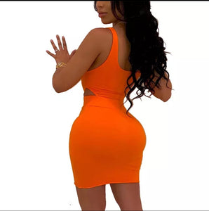 Fashion Orange Solid Color U Neck Bodycon Dress