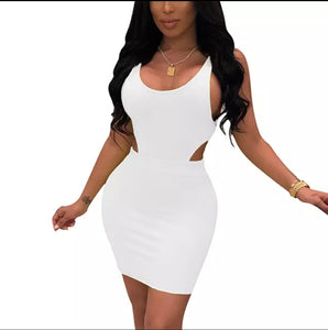 Fashion White Solid Color U Neck Sleeveless Bodycon Dress