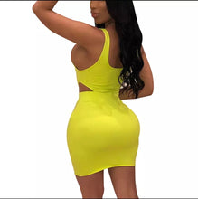 Load image into Gallery viewer, Fashion Yellow Solid Color U Neck Sleeveless Bodycon Dress