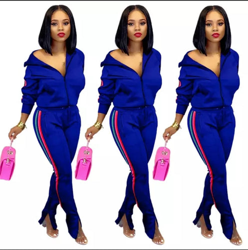 Fashion Blue Two Piece Zip Up Track Suit