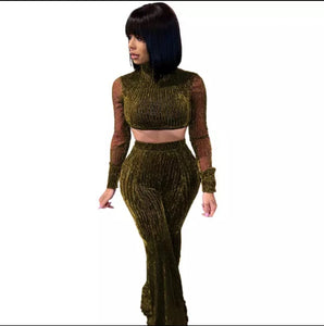 Fashion Long Sleeve Crop Top Gold Mesh Two Piece Set