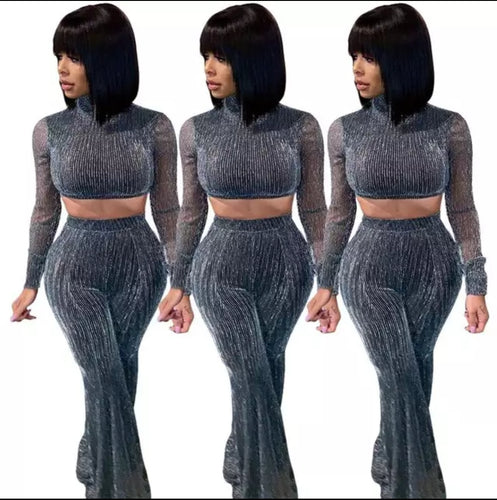 Fashion Long Sleeve Crop Top Silver Mesh Two Piece Set