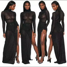Load image into Gallery viewer, Fashion Mesh High Slit Black Two Piece Dress