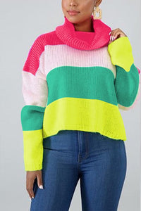Casual Patchwork Turtleneck Multicolor Sweater