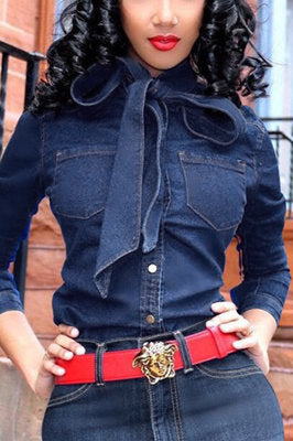 Fashion Casual Bow Denim Blue Solid Tops