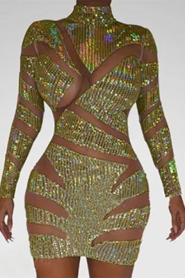 Sexy Patchwork Hollow Perspective Gold Dress