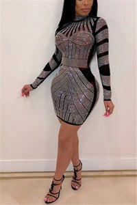 Fashion Sexy Hot Drilling Long Sleeve Black Dress