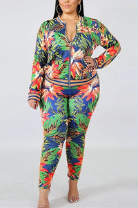 Fashion Casual Plus Size Green Print Two Piece Suit
