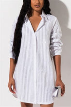 Load image into Gallery viewer, Fashion Sexy Striped Long Sleeve Shirt Dress