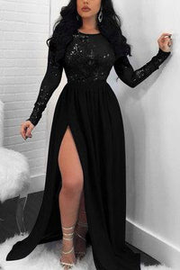 Sexy Backless Sequined Lace Slit Black Dress