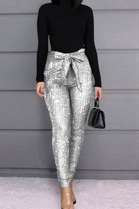 Fashion Casual Skinny Champagne Sequined Trousers