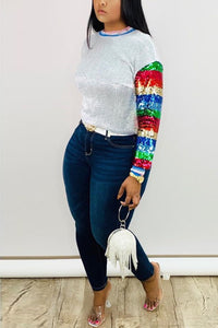 Fashion Sequined Multicolor Long Sleeve Top
