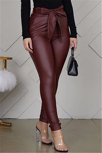 Fashion Sexy Solid Color Jujube Red Trousers (Including Belt)