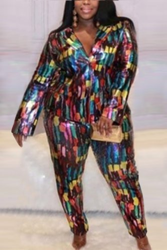 Fashion Plus Size Sequin Print Multicolor Two-Piece Suit