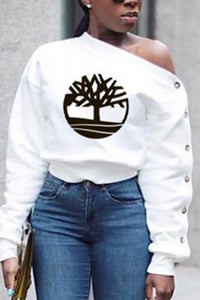 Fashion Long Sleeve Oblique Collar  T-Shirt Top