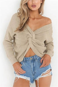 Fashion Halter V-Neck Knotted Sweater