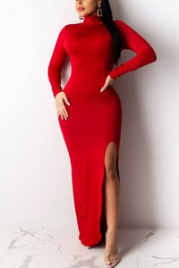 Fashion High Neck Long Sleeve Long Dress