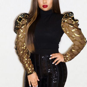 Fashion Sequined Mesh Long Sleeved Mid Neck Top